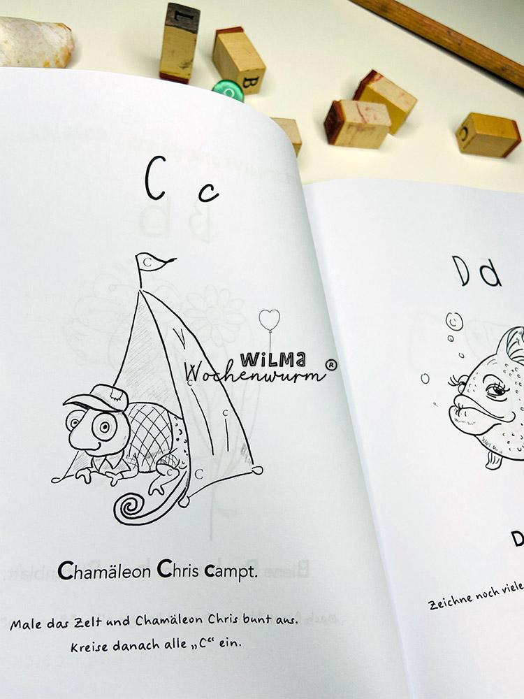 Lerngeschichten mit Wilma Wochenwurm das wurmstarke Vorschulbuch Buchstaben lernen ABC Kita Kindergarten Grundschule Susanne Bohne