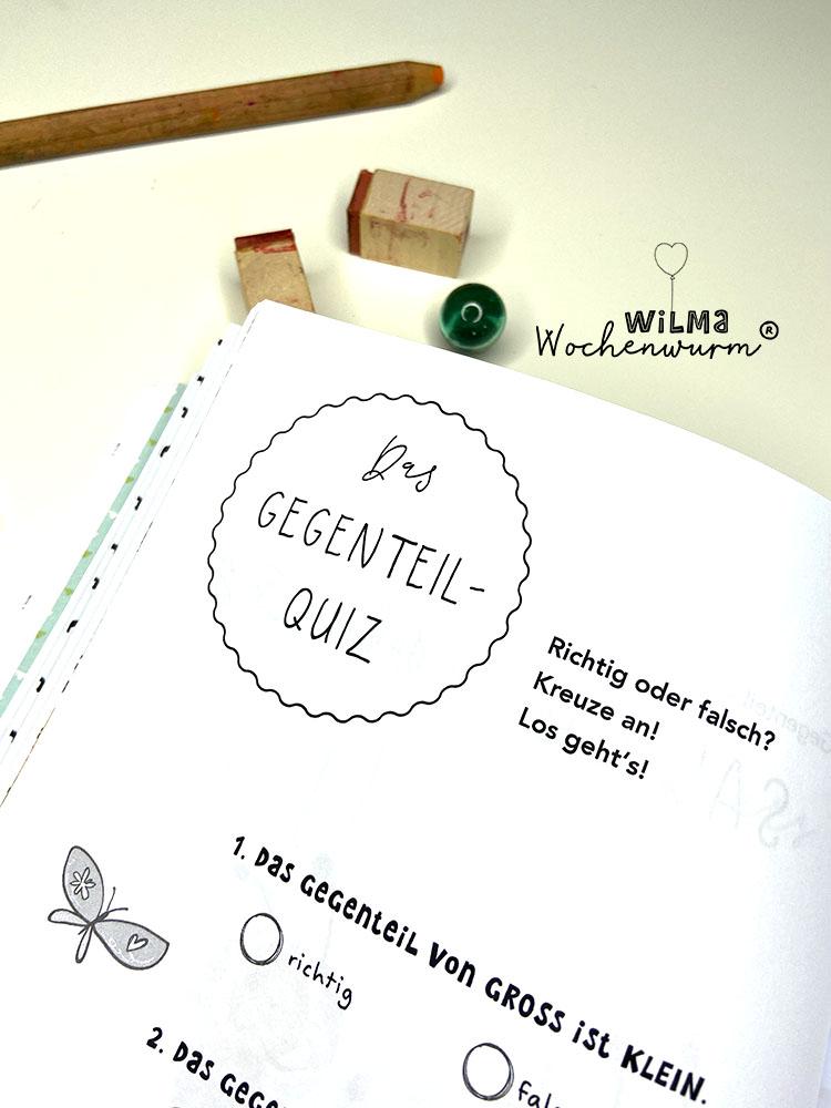 Lerngeschichten mit Wilma Wochenwurm das wurmstarke Vorschulbuch Gegensätze Gegenteile Quiz Kinder Kindergarten Kita Susanne Bohne