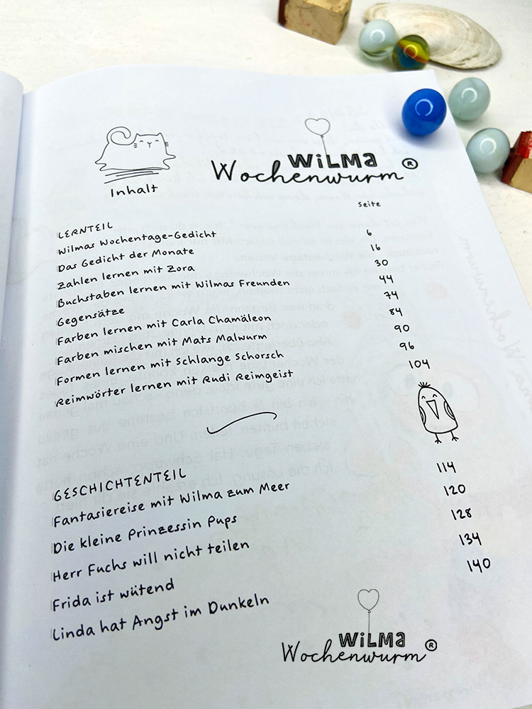 Lerngeschichten mit Wilma Wochenwurm das wurmstarke Vorschulbuch Inhaltsverzeichnis Kindergarten Kita Grundschule Susanne Bohne