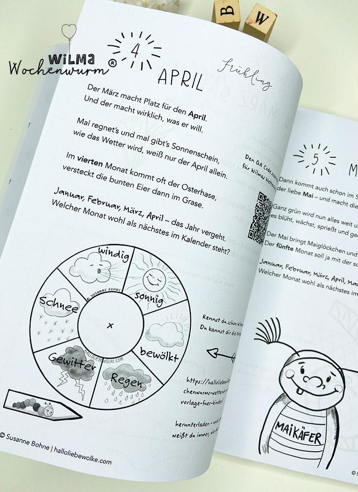 Lerngeschichten mit Wilma Wochenwurm das wurmstarke Vorschulbuch Jahreszeiten Monate lernen Kinder Montessori Susanne Bohne
