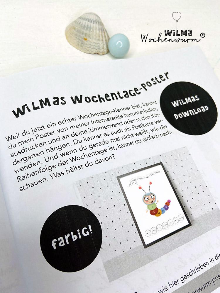 Lerngeschichten mit Wilma Wochenwurm das wurmstarke Vorschulbuch Wochentage lernen Poster kostenlos Susanne Bohne