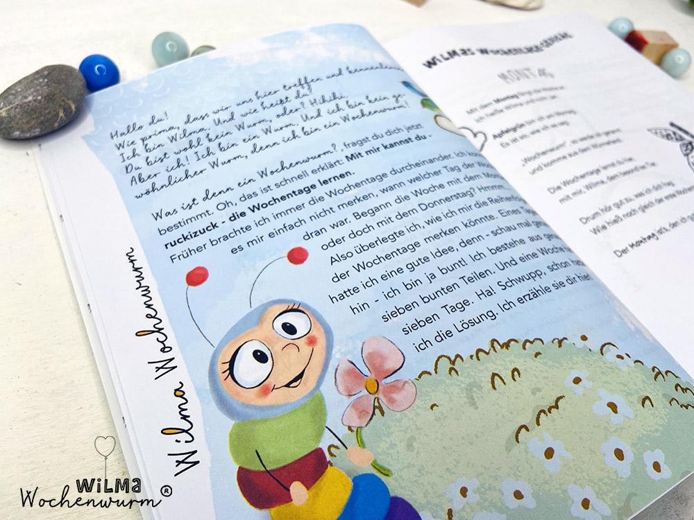 Lerngeschichten mit Wilma Wochenwurm das wurmstarke Vorschulbuch Wochentage lernen Susanne Bohne