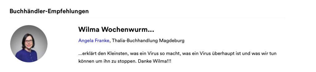 Wilma Wochenwurm erklärt Virus und Co Buchhändlerempfehlung Susanne Bohne