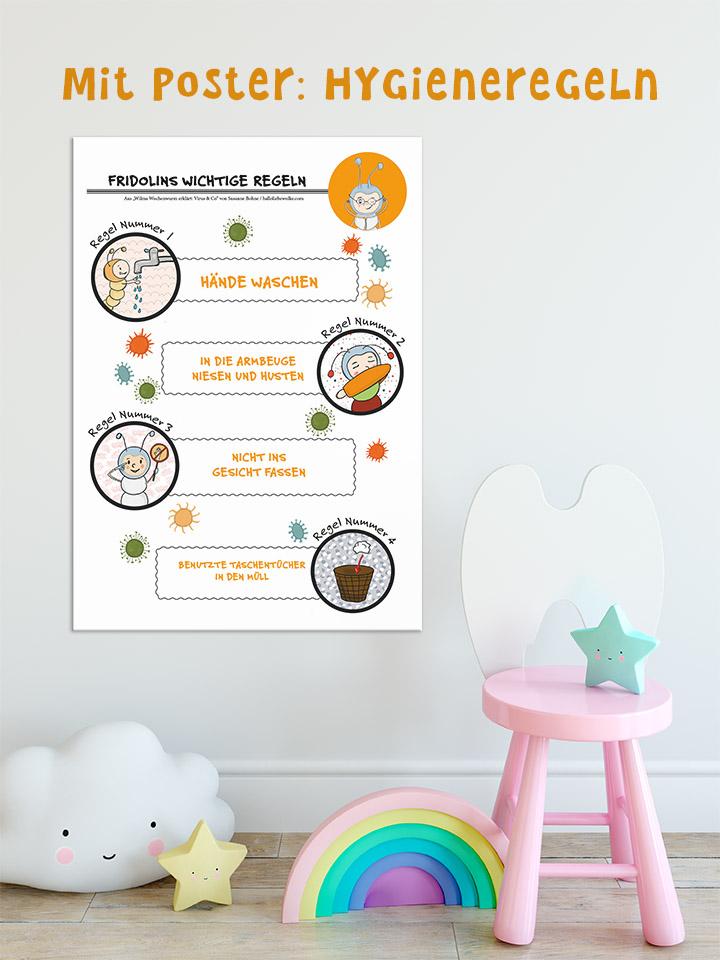 Wilma Wochenwurm erklärt Virus und Co Lernposter Poster Hygieneregeln
