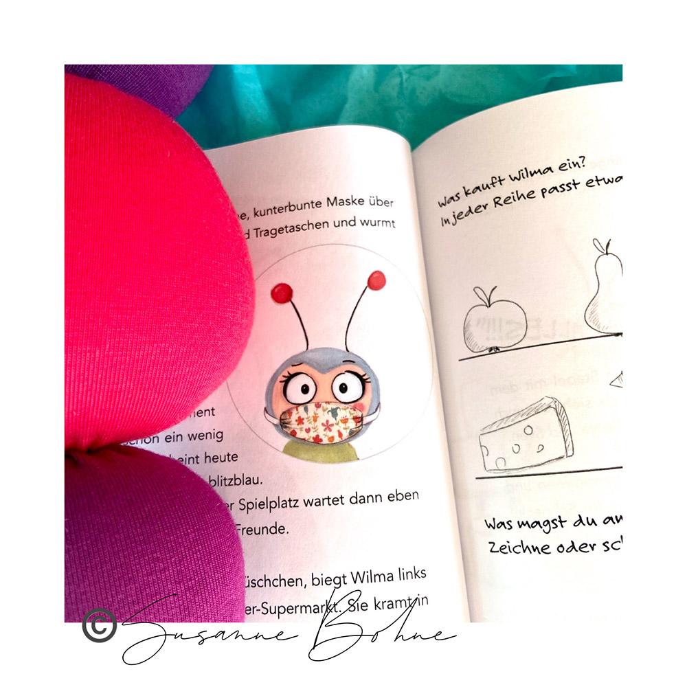 Wilma Wochenwurm erklärt Wir halten alle fest zusammen - ein Corona Kinderbuch von Susanne Bohne Mundschutz Mund-Nase-Maske Kinder
