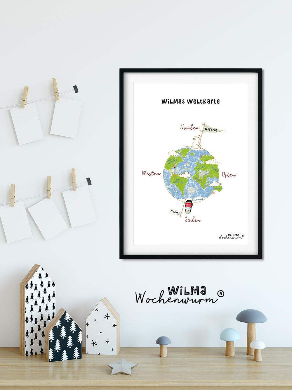 Selbstbewusstsein Kinder stärken Stella ist still Gefühle Wilma Wochenwurm Weihnachten Kita Kindergarten Grundschule Weltkarte Poster