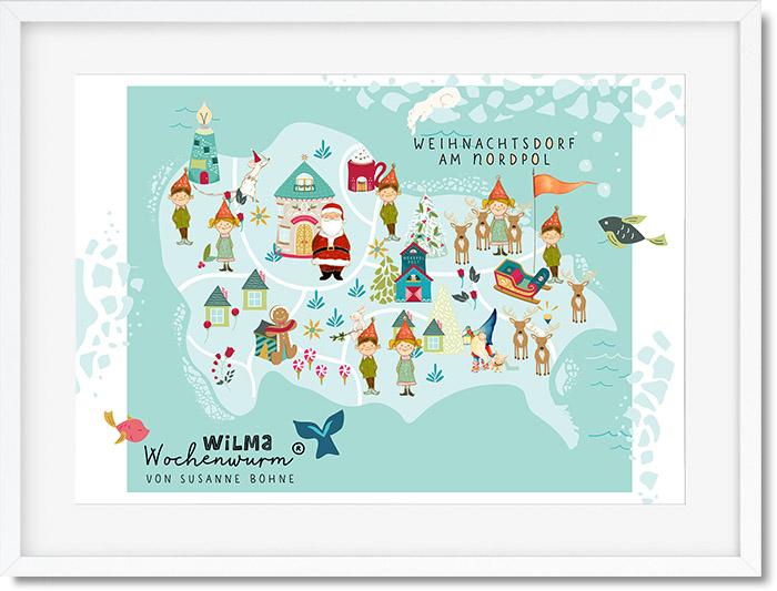 Weihnachtsdorf am Nordpol Karte von Susanne Bohne