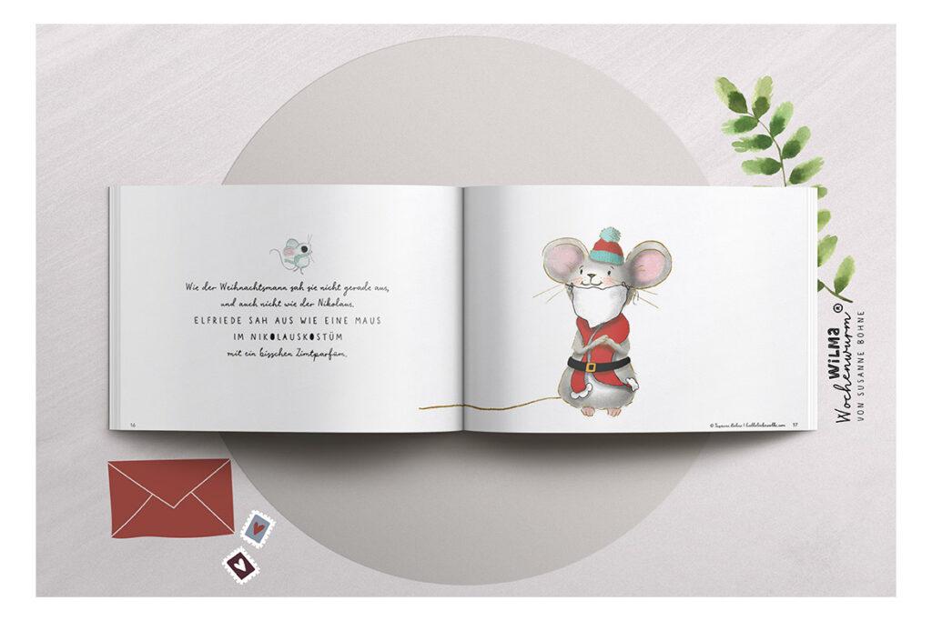 Wilma Wochenwurm erzählt - Die Weihnachtsmann-Maus namens Claus von Susanne Bohne Reimgedicht Mitmachbuch Kopie