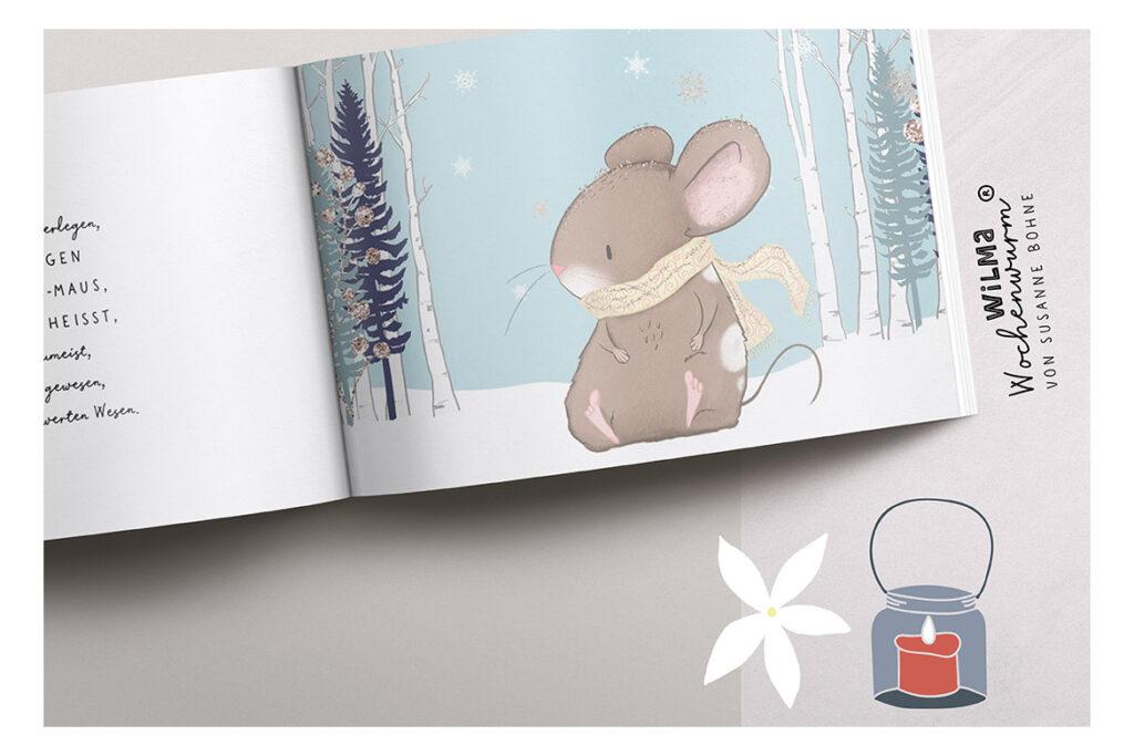 Wilma Wochenwurm erzählt - Die Weihnachtsmann-Maus namens Claus von Susanne Bohne Reimgedicht für Kinder Advent Kopie