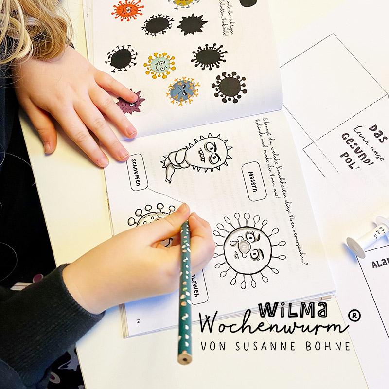 Mitmachbuch Rätselbuch Kinder Impfen Virus Wilma Wochenwurm Susanne Bohne